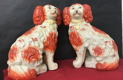 Large Pair of Staffordshire Pottery Wally Dogs - Mantel Dogs Spaniels