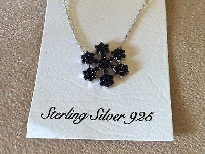 925 Sterling Silver Star  Pave Blue Sapphire Evil Eye  Pendant Necklace N-556