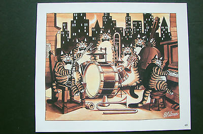 "Color Kliban Cat Cartoon Print - ""the Jazz Band "" - Kilban"