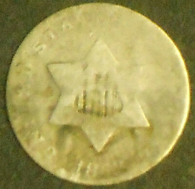 1853-P Silver Three Cent Piece. Free Shipping!!!!!!!!!!!!!!!!!