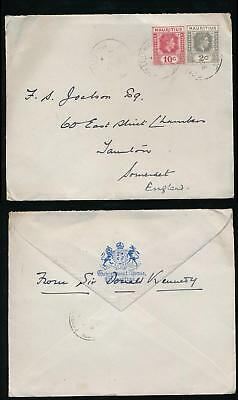 MAURITIUS 1943 GOVERNMENT HOUSE ENVELOPE from SIR DONALD KENNEDY GOVERNOR SIGNED