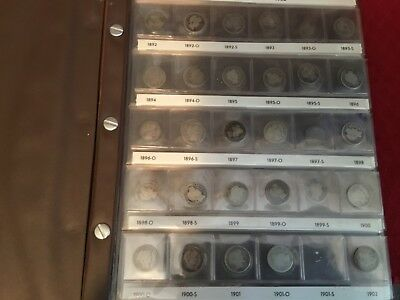 BARBER DIMES collection, Set 1892-1916  w/ 51 different dimes in Book