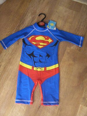 Ex store 18-24 months Superman 40+ upf uv sun protection all in one swimsuit BNW