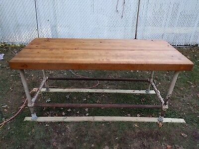 Vintage 6' Industrial Butcher Block Table - Work Table, Kitchen Island, Galley