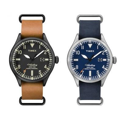 Men's Watch TIMEX The WATERBURY Leather Blue Brown Black Classic Sub 50mt