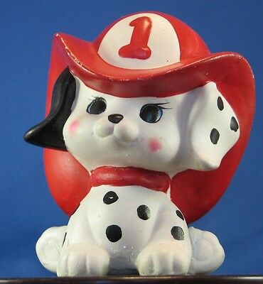 * Vintage ceramic Dalmation with Fire hat bank