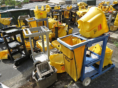 SCHOOL SURPLUS: Large Lot of Commercial Mop Buckets, Wringers, Carts, Janitorial
