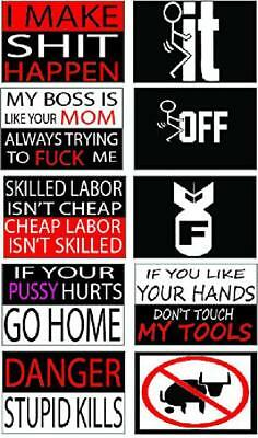 Funny Hard Hat & Helmet Stickers 10 Decal Value Pack Welding Toolbox Label Work