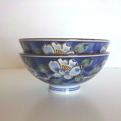 Vintage Asian Blue and White Porcelain Footed Bowls Rice Soup Floral Flowers