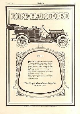 1909 Pope Hartford Touring/ Packard 2 Sided  Orig Vintage  Car Auto Ad