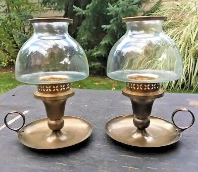 Antique Colonial Style End Table Brass Candle Stick Lanterns Lamps Pair