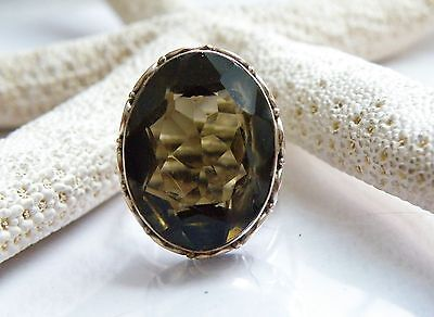Vintage 24ct BIG Quartz Handmade Sterling Silver Ring Size 9.5 Mens Womens