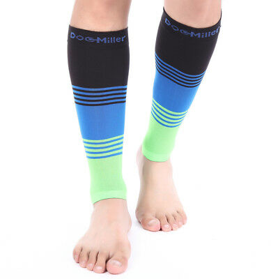 Doc Miller Calf Compression Sleeve 1 Pair 20-30mmHg Varicose Veins BLK/BLU/GRN