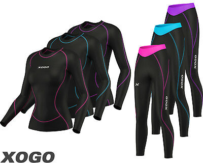 Ladies Womens Base Layer Long Sleeve Compression Armour Top + Tights Gym Sports,