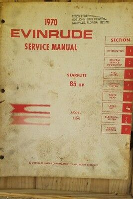 1970 Evinrude Starflite 85 HP Model 85093 Outboard Service Manual Genuine OMC