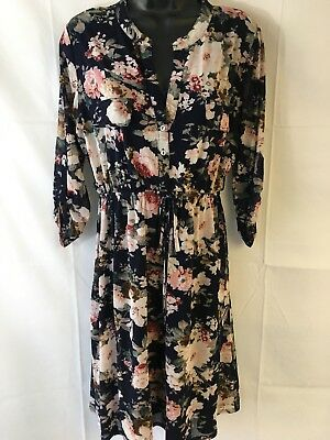Siren Lily Maternity Women's Dress Size Large Blue Floral (b2)