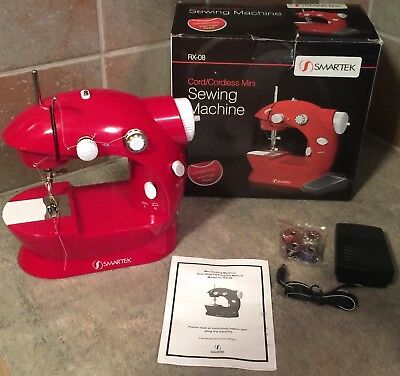 Smartek RX08 Mini Cordless Sewing Machine with Pedal Light and Compact Red