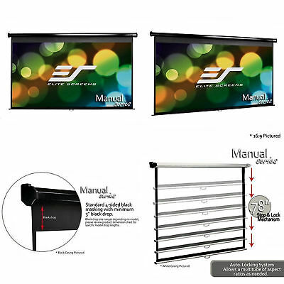"Manual Projector Screen Pull Down Projection Presentation 150"" 16:9 w/ Auto Lock"