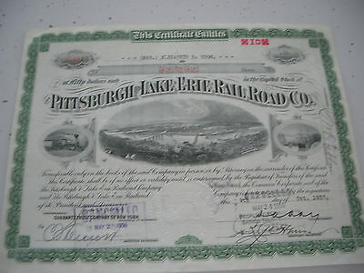 Vintage Pittsburgh & Lake Erie Railroad Company Stock Certificate Pennsylvania