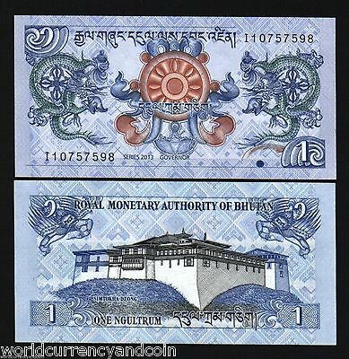 Bhutan 1 Ngultrum P27 2013 *bundle* Dragon Unc Currency Money Bill 100 Banknotes