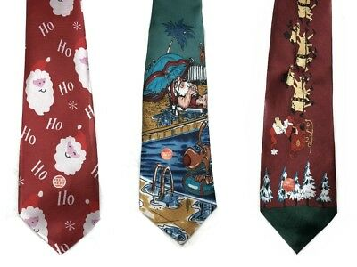 musical santa necktie Christmas holiday ties silly ugly sweater party ties
