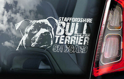 Staffordshire Bull Terrier - Car Window Sticker - Staffie Dog Sign Decal - V04