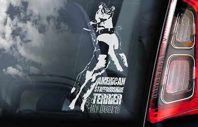 American Staffordshire Terrier -Car Window Sticker- Dog on Board Bull Decal -V09