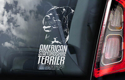 American Staffordshire Terrier -Car Window Sticker- Dog on Board Bull Decal -V10