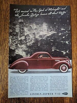 1937 Vintage Print Ad Automobile - Lincoln Zephyr V-12 Classic Cars