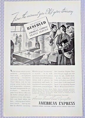 1937 Vintage Print Ad American Express Travel Service World Wide Travel