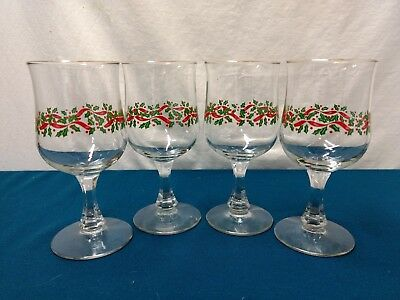(4) Vintage  Arybs Libbey Christmas Holiday Holly Berry Wine Goblets Gold Trim