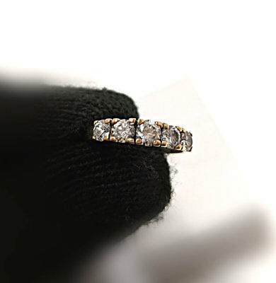Vintage 10k-Yellow-Gold Anniversary-Wedding Ring Set White Diamond Row Band