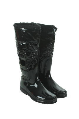 J-100-05 Women Puffy Tall Rain Boots Henry Ferrera Black