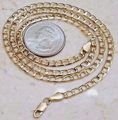 "GOLD square link chain 14k Yellow 10.4g 20"" 4mm (ASK 16 18 22 24 26 30 Italy"