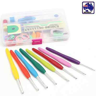 Set of 16 Soft Grip Handle Crochet Hooks Multi Colour Knitting Needle HNEE31616