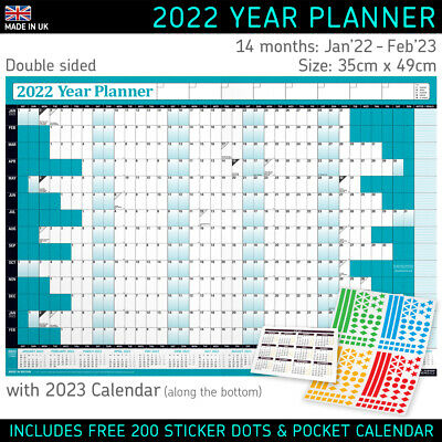 2020 Year Planner Wall Chart with 2021 Calendar ✔B3 size GREY+FREE Desk Calender