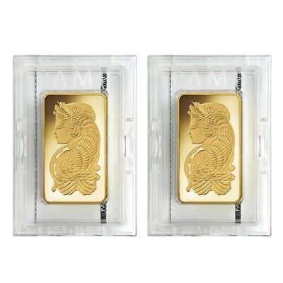 Lot of 2 - 10 oz PAMP Suisse Lady Fortuna Gold Bar .9999 Fine (In Assay)