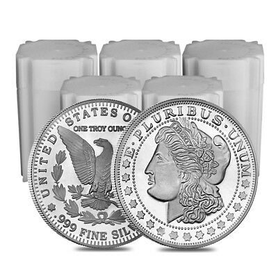 Lot of 100 - 1 oz Morgan Silver Round .999 Silver (5 Lot,Tube of 20)