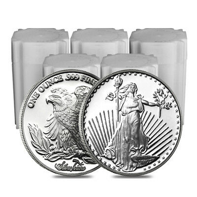 Lot of 100 - 1 oz SilverTowne Saint-Gauden Silver Round .999 Silver (5 Lot,Tube