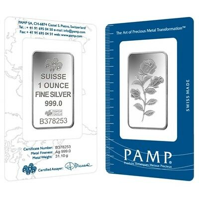 1 oz PAMP Suisse Rosa Silver Bar .999 Fine (In Assay)