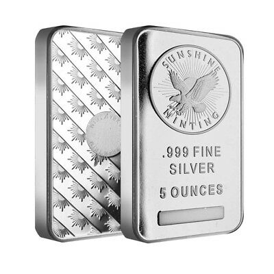 Lot of 2 - 5 oz Silver Sunshine Mint Bar .999 Fine (Sealed)