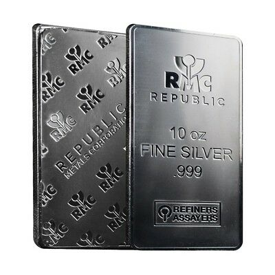 10 oz Republic Metals (RMC) Silver Bar .999 Fine (Sealed)