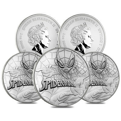 Lot of 5 - 2017 1 oz Tuvalu Spiderman Marvel Series Silver Coin .9999 Fine