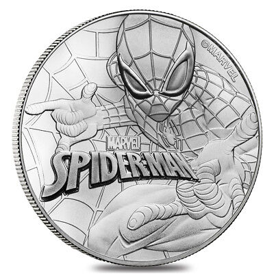 2017 1 oz Tuvalu Spiderman Marvel Series Silver Coin .9999 Fine Silver BU In Cap