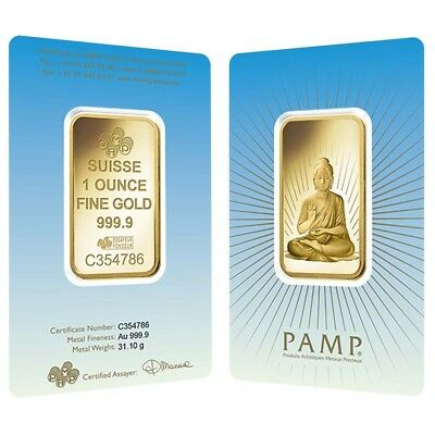 1 oz PAMP Suisse Gold Bar - Buddha (in Assay) .9999 Fine