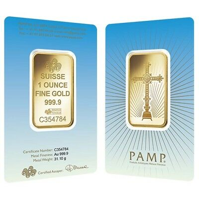 1 oz PAMP Suisse Gold Bar - Romanesque Cross (in Assay) .9999 Fine