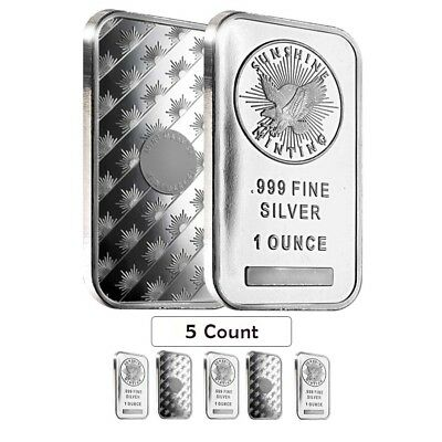 Lot of 5 - 1 oz Silver Sunshine Mint Bar .999 Fine (Sealed)