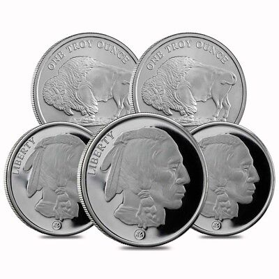 Lot of 5 - Buffalo Design Republic Metals 1 oz. .999 Fine Silver Round (RMC)