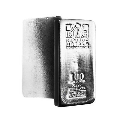 100 oz Republic Metals (RMC) Silver Bar .999 Fine
