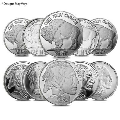 Lot of 10 - 1 oz Silver Buffalo Design Generic Rounds .999 Fine